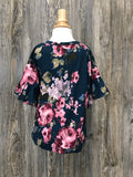 *Kids Floral Ruffle Sleeve Top