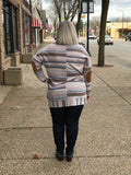 *Striped Knit Top with Elbow Patch