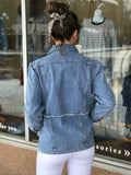 Mid Seam Fray Denim Jacket
