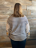 *Stripe & Embroidery Bell Sleeve Top
