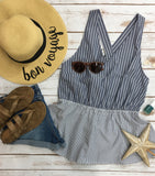 *Mixed Stripe Peplum Tank w/ X Back