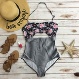 *Floral & Striped One Piece Swimsuit