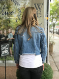 *Zoey Distressed Raw Hem Denim Jacket