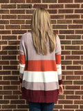 *Open Front Color Block Cardigan