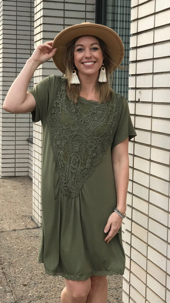 Lace Trim Short Sleeve Midi Dress