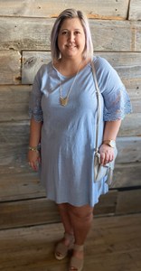 *Scalloped Bell Sleeve Dress