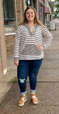 *Mixed Striped Lace Up Hoodie