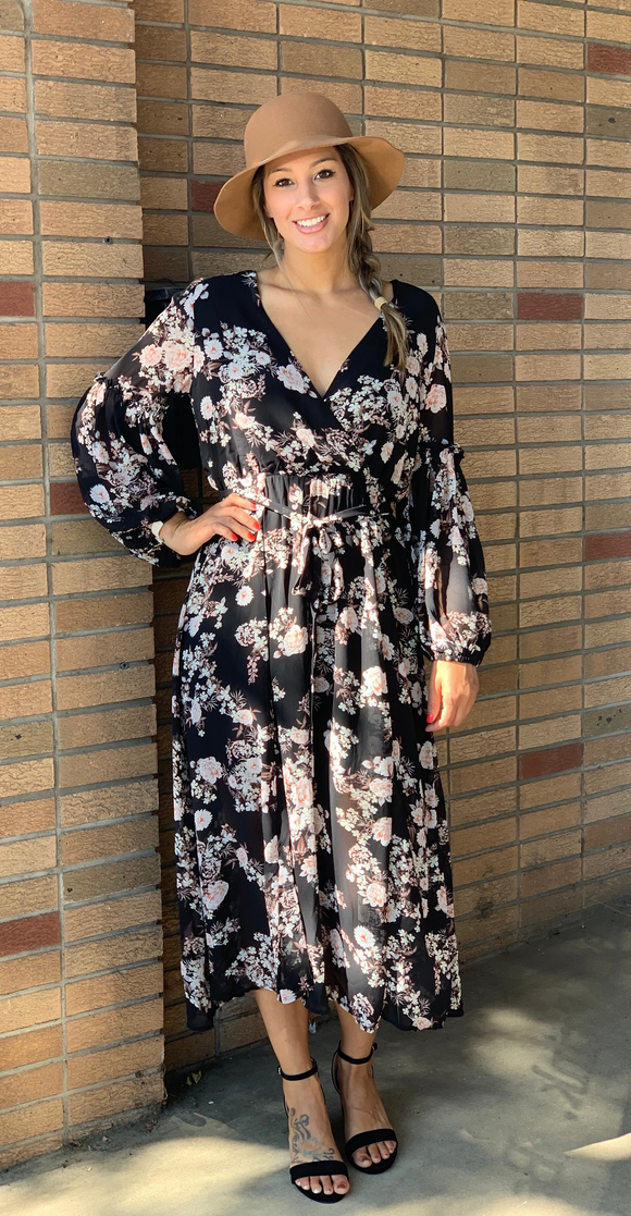 *Floral Surplice Maxi Dress