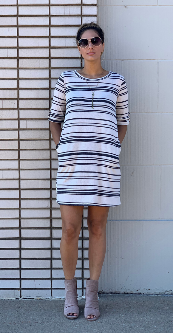 *Striped Tab-Up Elbow Knit Dress