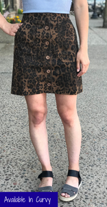 *Leopard Button Down Skirt
