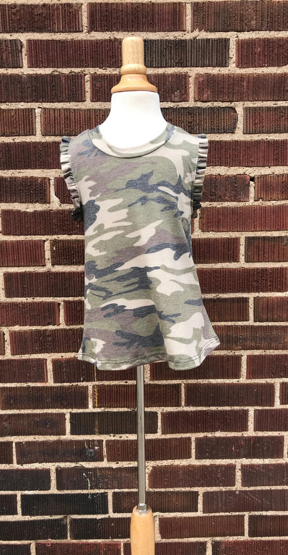 *Kids Ruffle Camo Print Top