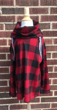 *Kids Plaid Cowl-Neck Top