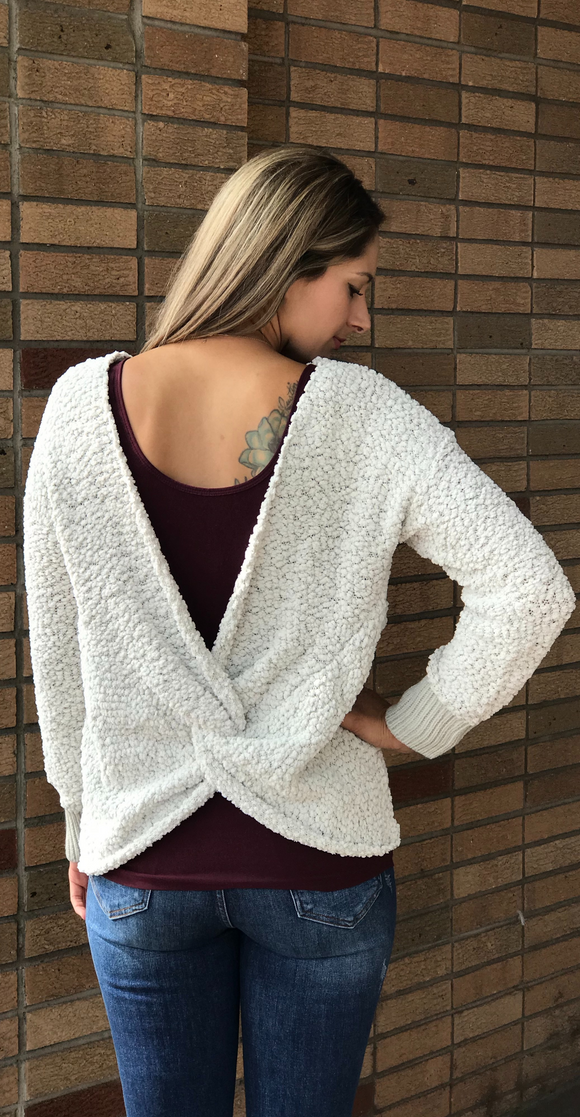 *Twist Back V-Neck Sweater