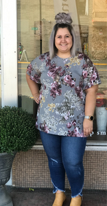 *Floral Flutter Sleeve Top