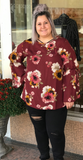 *Floral Print Top w/ Flutter Sleeves