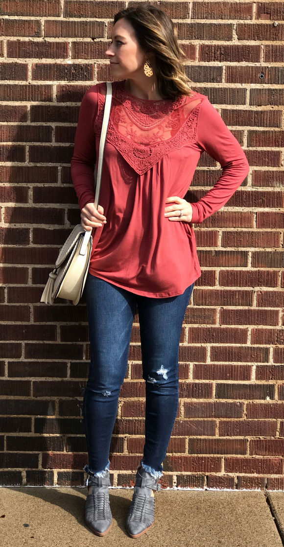 *Solid Knit Top w/ Lace Inset