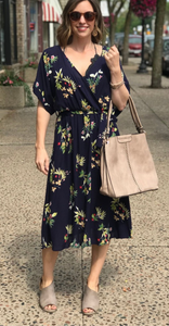 *Overlapped Floral Tie Waist Dress