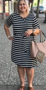*Short Sleeve Striped Tie Waist Dress