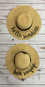 *Wide Brim Beach Sun Hat w/ Saying