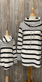 *Mixed Stripe Cowl Neck Top