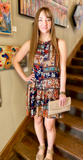 *Printed Floral Swing Dress