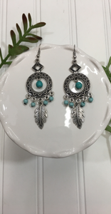 *Tribal Silver & Turquoise Earrings