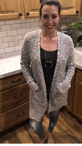 Two Tone Nubby Sweater Cardigan
