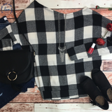 *Off-The-Shoulder Checkered Top