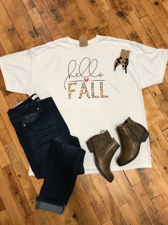 *Hello Fall Leopard Graphic Tee