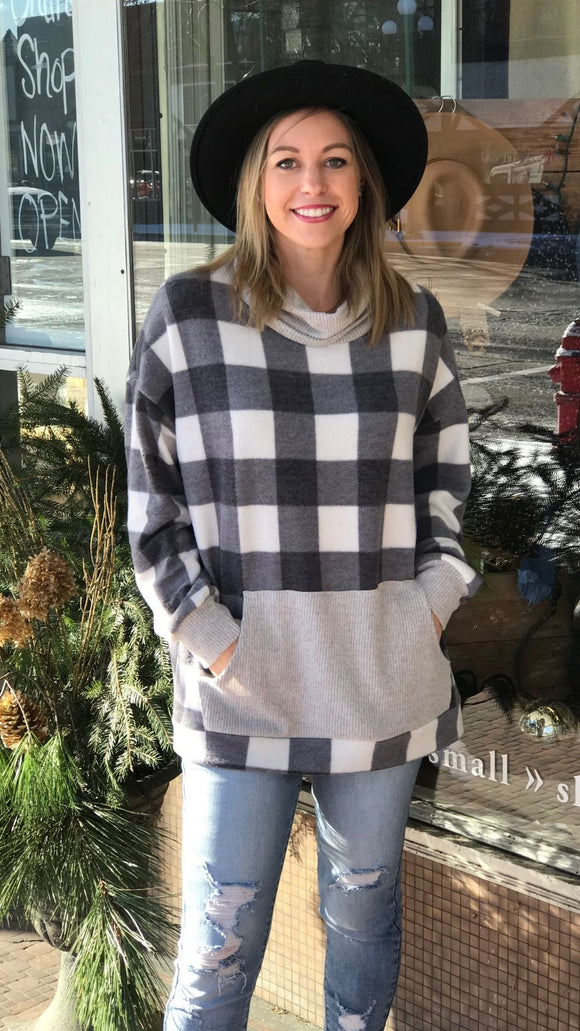 Cowl Neck Plaid Sweater w/Kangaroo Pocket