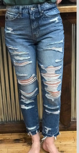 KanCan High Rise Distressed Skinnys