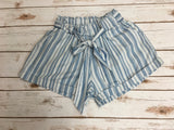 *Striped Chambray Smocked Waist Short