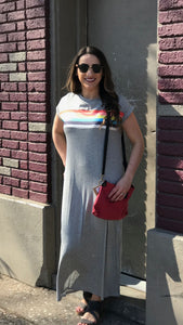 Short Sleeve Rainbow Maxi Dress