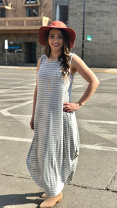 Round Hem Striped Maxi Dress