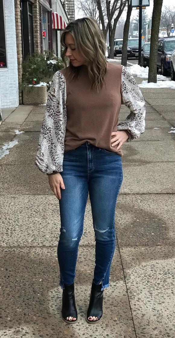 Mock Neck Sequin Sleeve Top