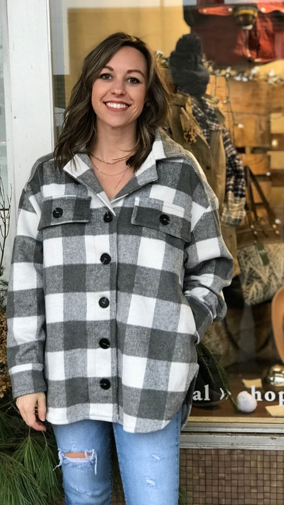 Oversized Plaid Button Down Jacket