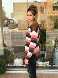 *Lightweight Chenille V-Neck Stripe Sweater