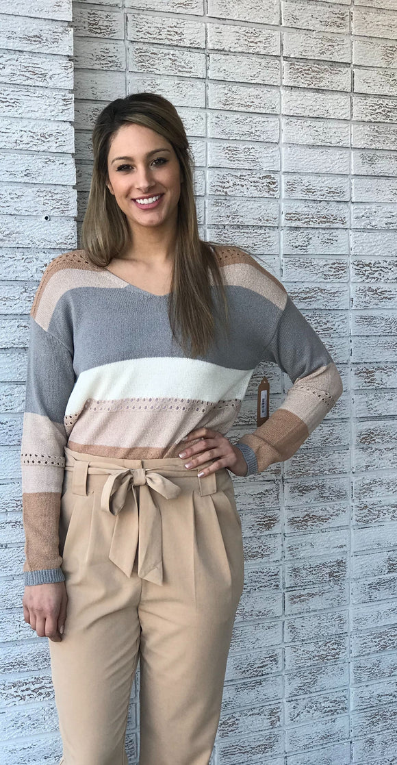 V-Neck Color Block Knitted Sweater