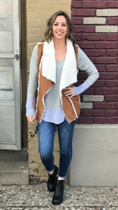 Faux Suede Sherpa Lined Vest