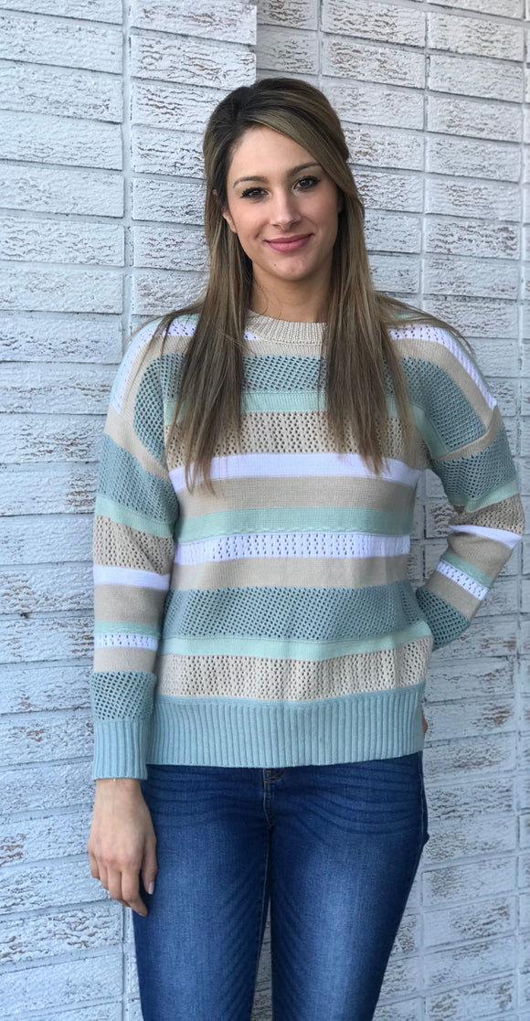 Woven Colored Striped Sweater