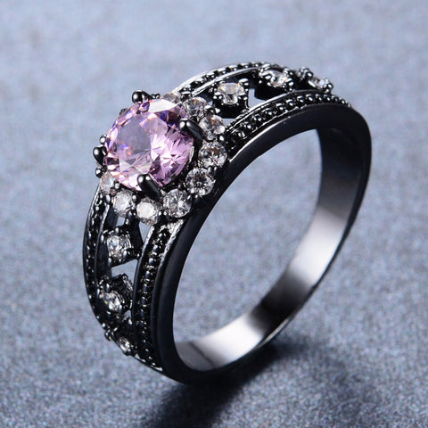 Pink Tourmaline Bridal Ring