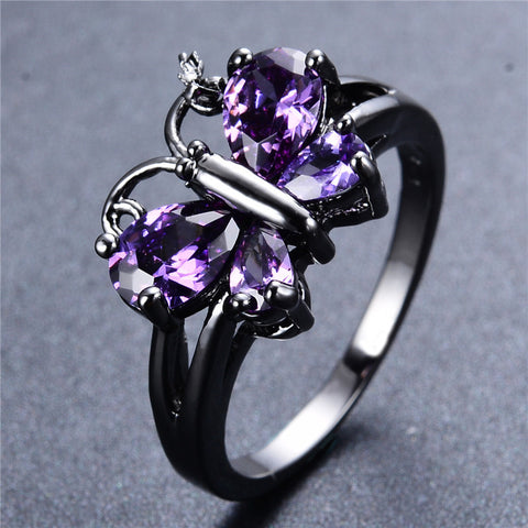 Butterfly Amethyst Gemstone Ring