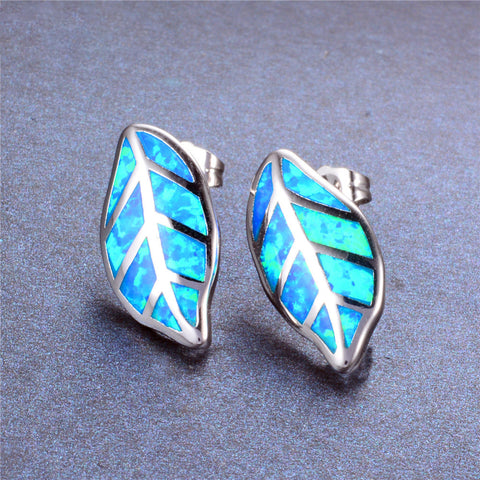Blue Fire Opal Leaf Stud Earrings