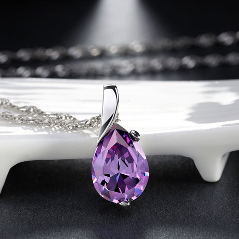 Amethyst Solitaire Pendant Necklace