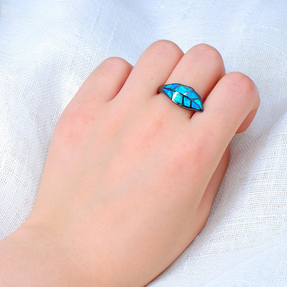 Blue Fire Opal Leaf Ring
