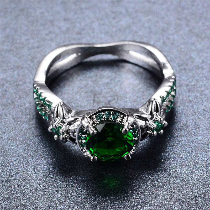 Emerald Gemstone Ring - 925 Silver