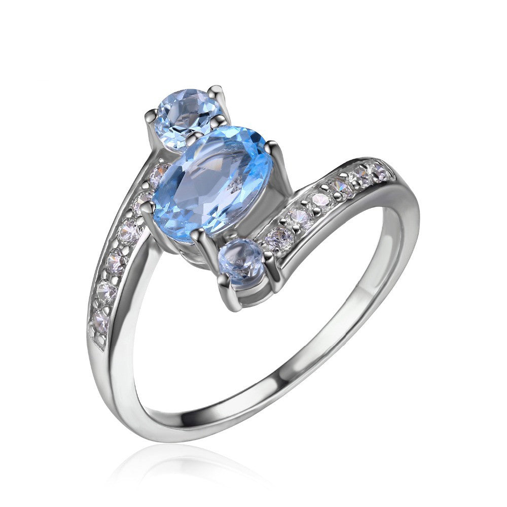 Oval Blue Topaz Gemstone Ring