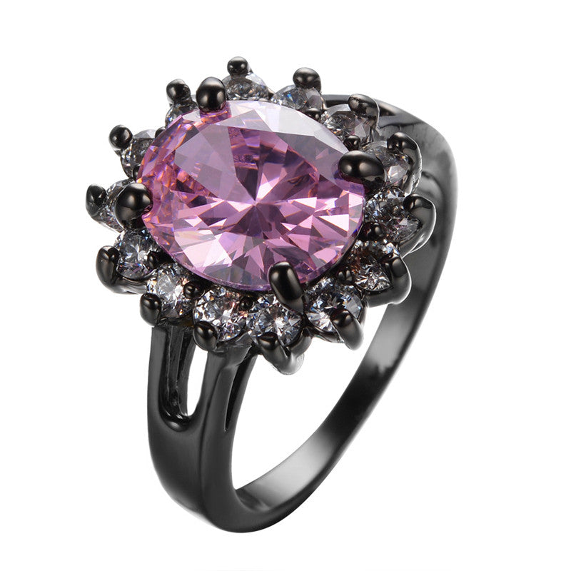 Pink Tourmaline Sunflower Ring