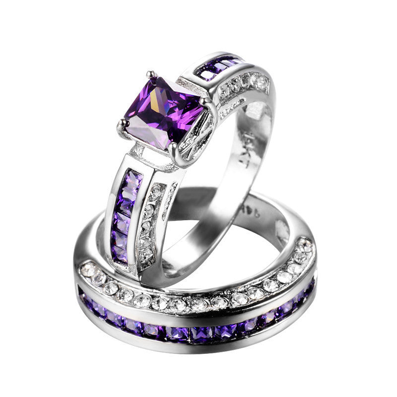 Double Bridal Amethyst Gemstone Ring