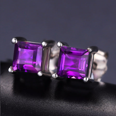 Amethyst Gemstone Stud Earrings